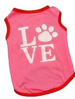 cheap -dog shirts,han shi summer pet puppy cat clothes footprint vest apparel tank tops (pink, m)