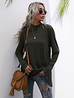 cheap -Women's T-shirt Plain Long Sleeve High Neck Tops Cotton Basic Basic Top Black Army Green