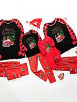 cheap -Family Look Santa Claus Graphic Letter Print Long Sleeve Regular Regular Clothing Set White