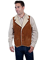 cheap -men's faux suede shearling vest brown small