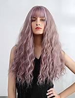 cheap -mixed light purple wig with bangs natural long wavy synthetic wig for women heat resistant cosplay halloween fancy dress party wig