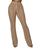 cheap -women's hollow out cover up pants wide leg knit crochet see through long knitted palazzo pants beachwear(cm2,m)