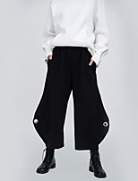 cheap -Women's Basic Streetwear Comfort Daily Going out Wide Leg Pants Pants Solid Colored Ankle-Length Black