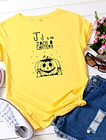 cheap -Women's Halloween T-shirt Graphic Prints Letter Pumpkin Print Round Neck Tops 100% Cotton Basic Halloween Basic Top White Black Yellow