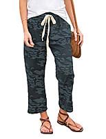 cheap -women camouflage lounge pants summer casual elastic waist drawstring pockets palazzo joggings,dark green,m