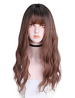 cheap -Synthetic Wig Curly With Bangs Wig Long Light Brown Dark Brown Brown Black Synthetic Hair 22 inch Women's Comfy Fluffy Dark Brown Brown