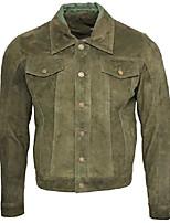 cheap -men's trucker casual khaki goat suede leather shirt jeans jacket 4xl