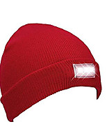 cheap -unisex 5 led knitted beanie hat/cap for outdoors sports,hunting, camping, grilling, jogging, fishing, handyman working, hands free led beanie cap (red)
