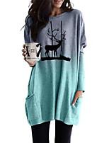 cheap -Women's Christmas Tshirt Dress Color Gradient Animal Long Sleeve Round Neck Tops Christmas Basic Top Purple Orange Gray