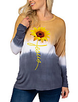 cheap -Women's T-shirt Floral Color Block Long Sleeve Patchwork Print Round Neck Tops Loose Basic Basic Top Blue Gray