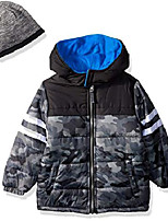 cheap -boys' little camo puffer with accessory, grey, 6