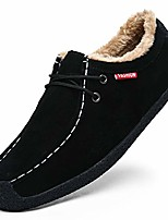 """cheap -men's winter warm plush boat slippers loafers male suede indoor outdoor slip on shoes moccasins memory foam 7 black,9.65"""" heel to toe"""