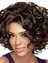 cheap -Synthetic Wig Afro Curly Bouncy Curl Middle Part Wig Short Light Brown Dark Brown Black / Brown Synthetic Hair Women's Soft Elastic Fluffy Mixed Color