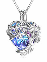 cheap -tree of life necklace s925 sterling silver heart pendant necklace jewelry with purple heart crystal gifts for women teen girls birthday wedding girlfriend wife