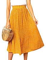 cheap -women's high waist polka dot ruffle midi skirt pleated elastic waist skirt black,s
