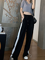 cheap -Women's Streetwear Comfort Daily Going out Wide Leg Pants Pants Striped Solid Colored Full Length Pocket Black