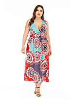 cheap -Women's A-Line Dress Midi Dress - Sleeveless Print Houndstooth Ruched Print Fall V Neck Plus Size Casual Loose 2020 Black Blue Gray XL XXL 3XL 4XL 5XL