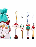 cheap -makeup brush set  5pcs soft synthetic fiber christmas theme cosmetic brushes with pouch blush concealer eyebrow eyeshadow high gloss brush