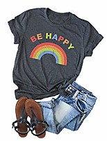cheap -womens be happy rainbow t-shirt summer short sleeve leisure retro graphic tees tops