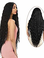 "cheap -38"" long water wave wig middle part black color wigs for women super long water ripple synthetic hair wig soft wavy fluffy curly wig  heat resistant"