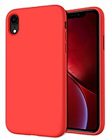 cheap -slim series iphone xr case, liquid silicone gel rubber shockproof cover case with soft microfiber lining full body protection for apple iphone xr, red