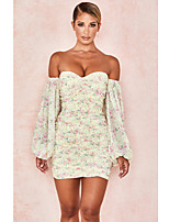 cheap -Sheath / Column Floral Sexy Party Wear Cocktail Party Dress Off Shoulder Long Sleeve Short / Mini Spandex with Ruched Pattern / Print 2020