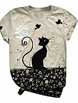 cheap -women's cute animal short sleeve t shirt casual round neck blouses tops graphic tee tops