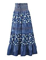 "cheap -women's bohemian embroidered flare a-line smocked waist long maxi denim skirt (waist 26.4"" to 31.5"", length 35.4"", k198 blue)"