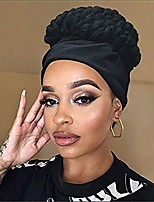 cheap -short kinky curly wigs for women synthetic black wig with bangs headband wigs wrap wigs 2 in 1 headwrap wigs turban drawstring high puff wigs afro curly wrap wigs with hairband (black turban)