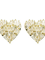 cheap -Women's AAA Cubic Zirconia Stud Earrings Heart Sweet Heart Korean Fashion Cute Earrings Jewelry Gold For Party Evening Gift Date 1 Pair