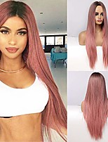 cheap -cosplay party wig long ombre pink wig straight hair wigs for women synthetic middle part wig 26 inch