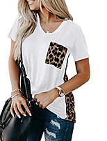 cheap -women's summer short sleeve v neck t-shirt leopard print patchwork casual loose soft basic shirt pullover blouse tops white l