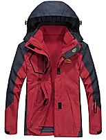 cheap -women's 3 in 1 hooded softshell rain coat 2 pcs jacket windproof with removable fleece liner (red,s)