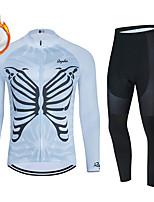 cheap -WECYCLE Men's Women's Long Sleeve Cycling Jersey with Bib Tights Cycling Jersey with Tights Winter Fleece Polyester Blue Black / White Black / Blue Butterfly Bike Clothing Suit Fleece Lining / Warm