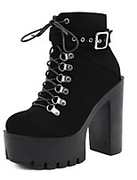 cheap -Women's Boots Chunky Heel Round Toe Booties Ankle Boots Sexy Daily Walking Shoes PU Rivet Buckle Lace-up Solid Colored Black / Mid-Calf Boots