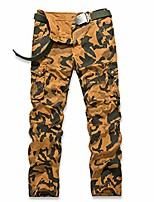 cheap -mens cargo big pocket military style camouflage straight fit cotton trouser casual pants army camo jogger khaki 36