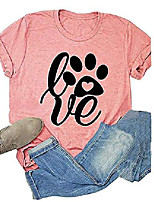 cheap -womens love paw short sleeve t-shirt dog mom funny tees letters print o-neck casual summer tops shirt (pink, m)