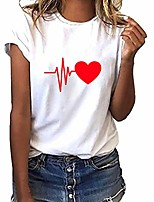 cheap -short sleeve shirts for women plus size loose heart print t-shirt casual o-neck top(x-large,d)