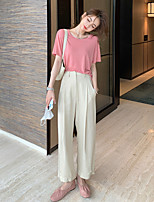 cheap -Women's Basic Streetwear Comfort Daily Going out Wide Leg Pants Pants Solid Colored Ankle-Length Pocket Beige