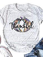 cheap -pumpkin thankful t-shirt women halloween pumpkin graphic print short sleeve casual thanksgiving tee tops white