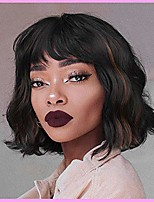 cheap -short wavy wigs with bangs synthetic bob curly hair for women black mixed brown wig natural looking highlights wig heat resistant fiber for daily costume wig