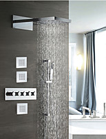 cheap -Chrome Shower Faucets Sets Complete with Solid Brass Shower Head and Handshower with Height Adjustable Pole Ceiling Mounted Included Rainfall / Waterfall Shower System