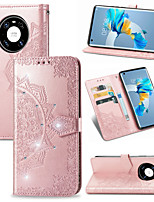 cheap -Case For Huawei nova 7 SE / P40 lite 5G / Nova 7 5G Card Holder / Shockproof / Embossed Full Body Cases Solid Colored PU Leather / TPU