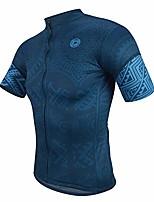 cheap -cycling jersey men cool dry breathable cycling jersey 3 pockets anti-slip hem bike jersey blue
