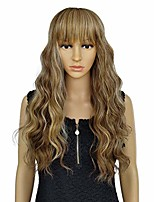 cheap -wigs female long wavy brown full bangs wigs heat resistant man-made fiber all size wig for women(336#)