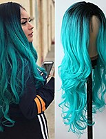 cheap -lezaxiu long wavy synthetic hair wigs ombre blue body wave wig with baby hair heat resistant synthetic none lace wigs for fashion women 24 inches