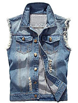 cheap -men's casual wear ripped denim jean vest and jacket(light blue,m size)