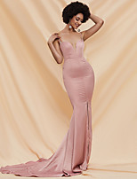 cheap -Sheath / Column Elegant Sexy Prom Formal Evening Dress Spaghetti Strap Sleeveless Court Train Spandex with Split 2020