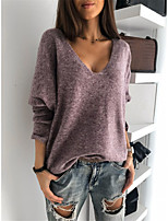 cheap -Women's Stylish Knitted Solid Color Pullover Long Sleeve Sweater Cardigans V Neck Fall Winter Purple Red Yellow