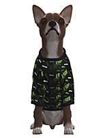 abordables -Perros Camiseta Geométrico Refranes y citas Ocasional / deportivo Moda Navidad Casual / Diario Invierno Ropa para Perro Ropa para cachorros Trajes De Perro Transpirable Verde Disfraz para perro niña